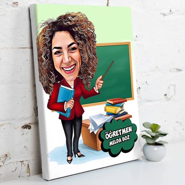 Kadın Öğretmen İçin Karikatürlü Kanvas Tablo