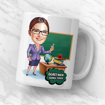 Kadın Öğretmen Karikatürlü Hediye Kutusu - Thumbnail
