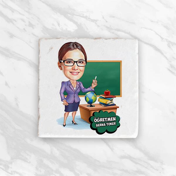 Kadın Öğretmen Karikatürlü Hediye Kutusu