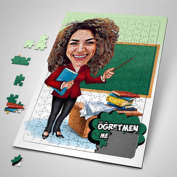 Kadın Öğretmen Karikatürlü Puzzle