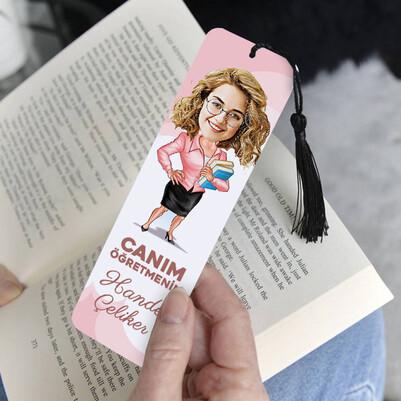 Kadın Öğretmene Hediye Karikatürlü Kitap Ayracı - Thumbnail