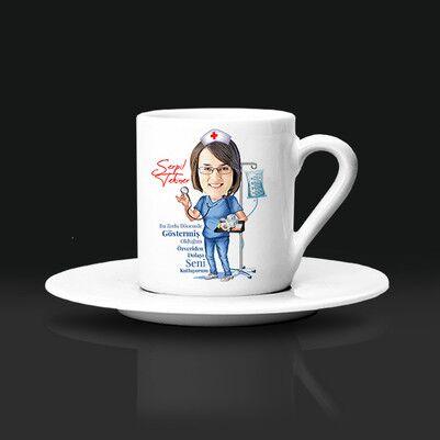- Kadın Sağlıkçılara Özel Karikatürlü Kahve Fincanı
