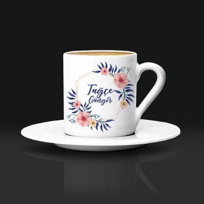 - Kadına Hediye Çiçek Desenli Kahve Fincanı