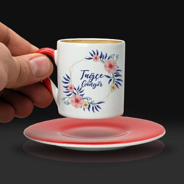 Kadına Hediye Çiçek Desenli Kahve Fincanı