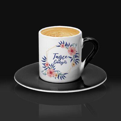 Kadına Hediye Çiçek Desenli Kahve Fincanı - Thumbnail