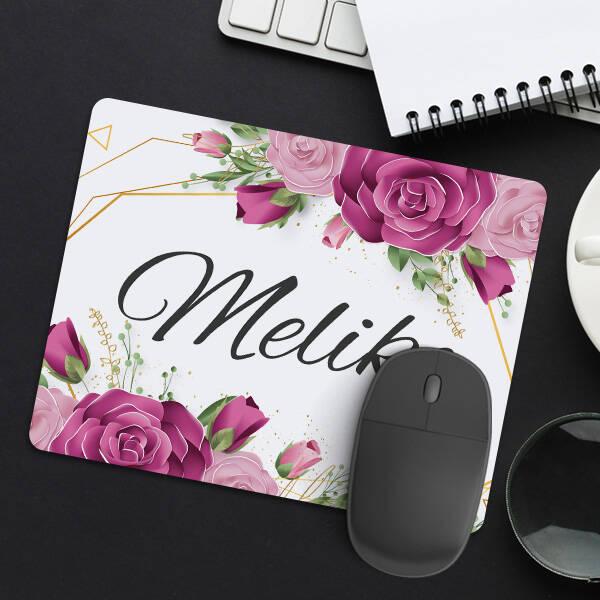 Kadına Hediye Gül Desenli İsimli Mousepad