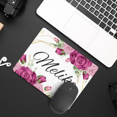 Kadına Hediye Gül Desenli İsimli Mousepad - Thumbnail