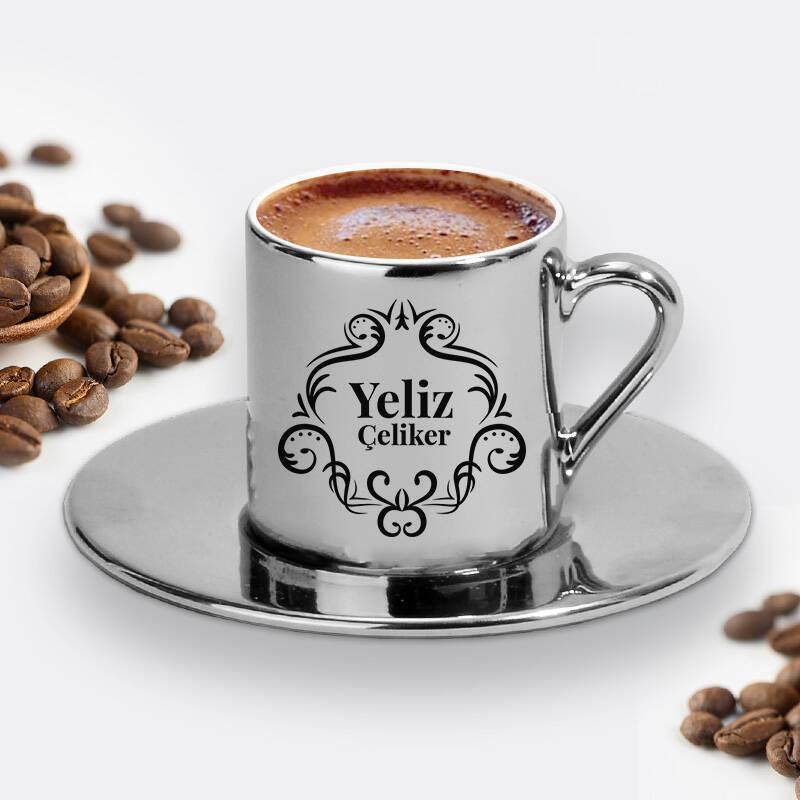 Kadına Hediye İsimli Silver Kahve Fincanı