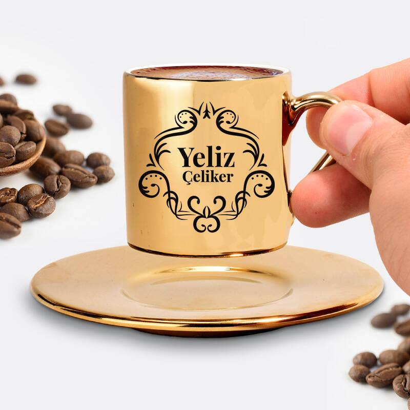 Kadına Hediye Şık Gold Kahve Fincanı