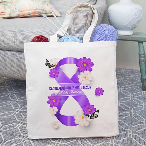 Kadınlar Günü İsme Özel Bez Çanta