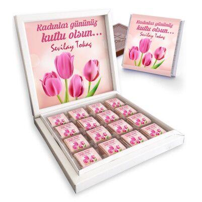 - Kadınlar Gününe Özel Lale Desenli Çikolata