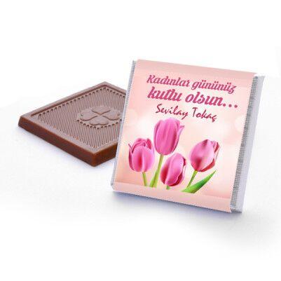 Kadınlar Gününe Özel Lale Desenli Çikolata - Thumbnail