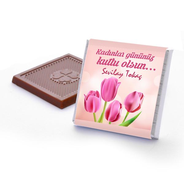 Kadınlar Gününe Özel Lale Desenli Çikolata