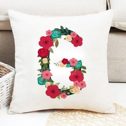 Kadınlara Özel Çiçek Desenli Harf Yastık - Thumbnail