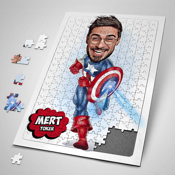 Kahraman Adam Karikatürlü Puzzle