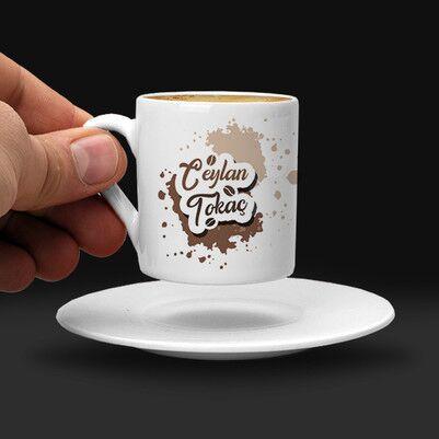 Kahve Tasarımlı İsme Özel Fincan - Thumbnail