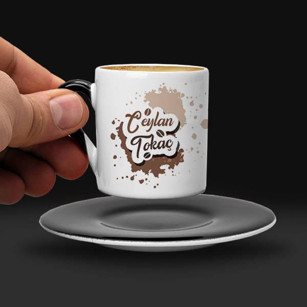 Kahve Tasarımlı İsme Özel Fincan