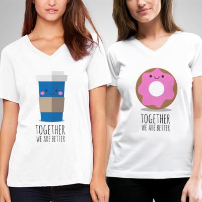 - Kahve ve Donut Arkadaşlık Tişörtleri