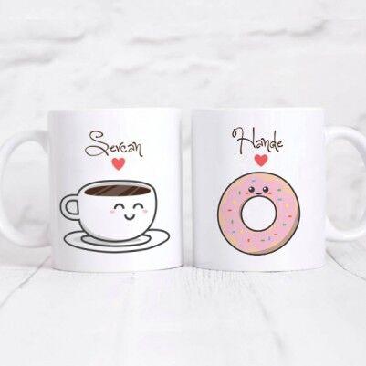 - Kahve ve Donut İkili Kupa Bardak
