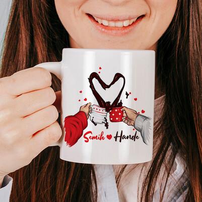 Kahvemizi Aşkla İçelim Kupa Bardak - Thumbnail
