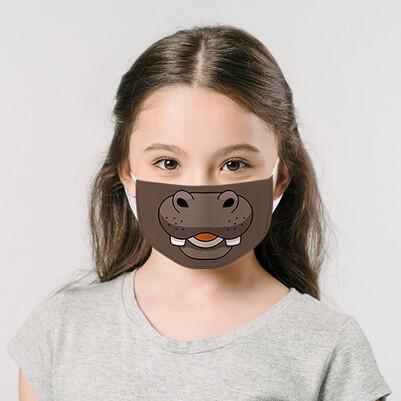 Kahverengi Su Aygırı Tasarım Çocuk Maskesi - Thumbnail