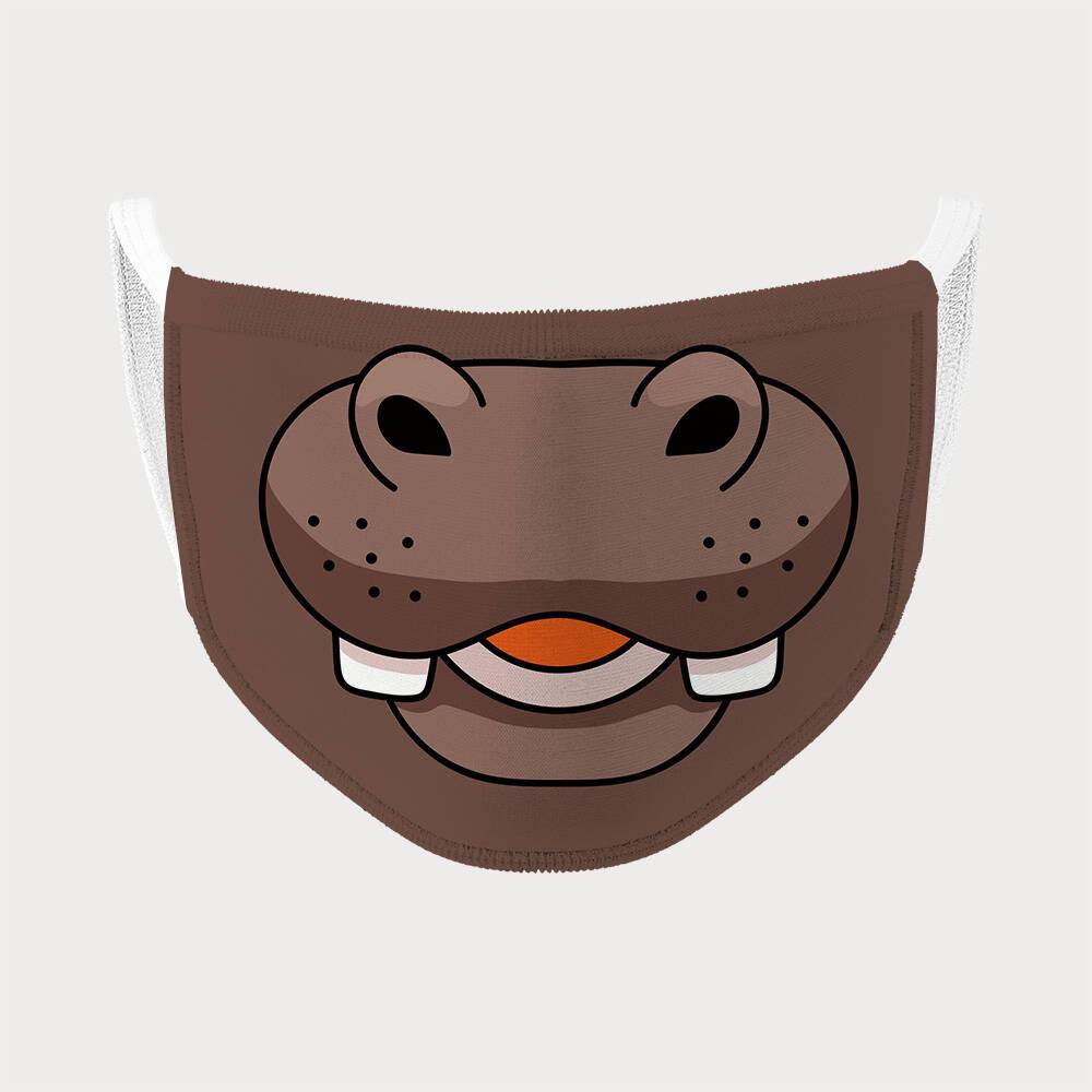 Kahverengi Su Aygırı Tasarım Çocuk Maskesi