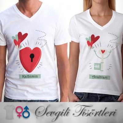 Kalbimin Anahtarı Sende Sevgili Tişörtü - Thumbnail