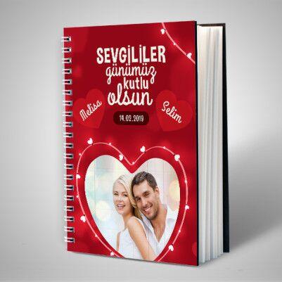 Kalp Desenli Fotoğraflı Sevgili Defteri - Thumbnail