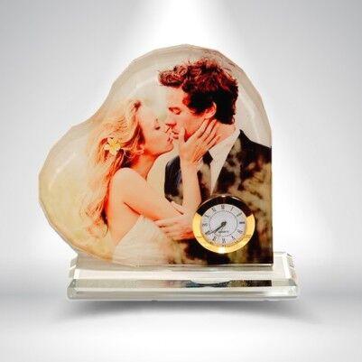 - Kalp Şeklinde Fotoğraflı Kristal Cam