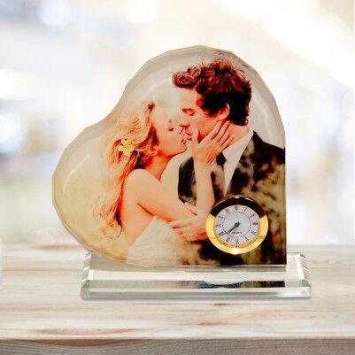 Kalp Şeklinde Fotoğraflı Kristal Cam - Thumbnail