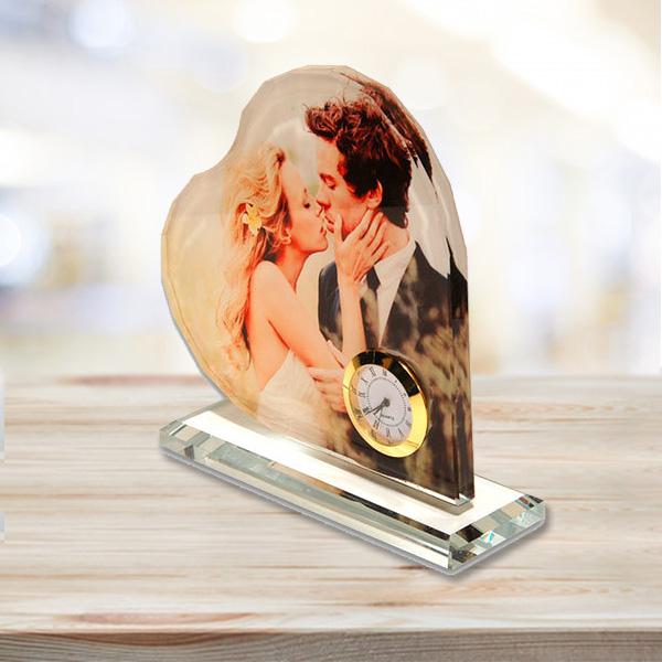 Kalp Şeklinde Fotoğraflı Kristal Cam