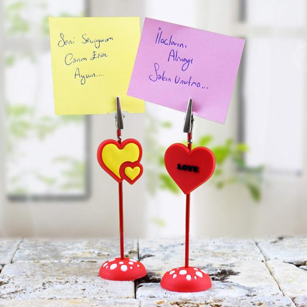 Kalp Şeklinde Masa Üstü Not Tutucu