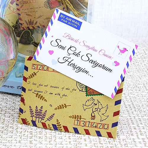 Kalp Şişede Sevgiliye Sürpriz Mektup