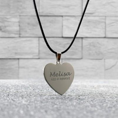 Kalp Tasarımlı İsme Özel Metal Kolye - Thumbnail