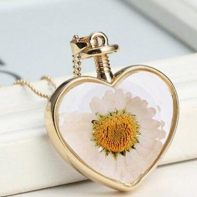 Kalp Uçlu Papatya Yaşayan Kolye - Thumbnail