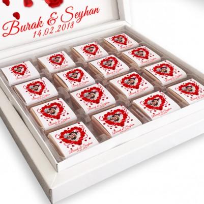 Kalp ve Gül Motifli Sevgili Çikolataları - Thumbnail
