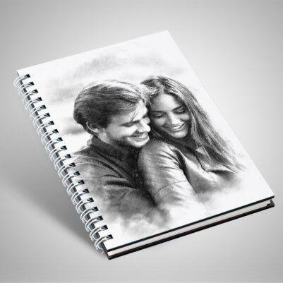 Kapağı Karakalem Resim Efektli Sevgili Defteri - Thumbnail