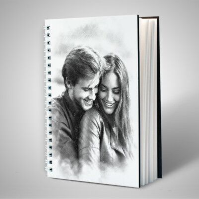 - Kapağı Karakalem Resim Efektli Sevgili Defteri