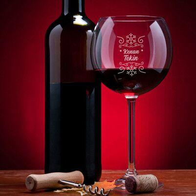 - Kar Tanesi İsme Özel Şarap Kadehi