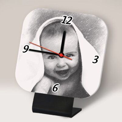 - Karakalem Efektli Kişiye Özel Masa Saati