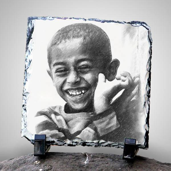 Karakalem Portre Efektli Dekoratif Taş