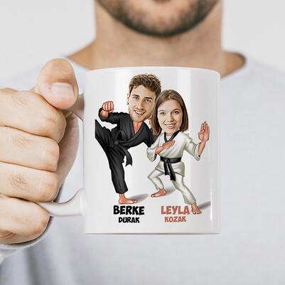 - Karateci Sevgililer Karikatürlü Kupa Bardak