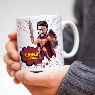 Karikatür Efektli Spartaküs Kupa Bardak - Thumbnail