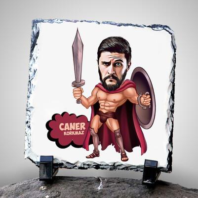 - Karikatür Efektli Spartaküs Taş Baskı