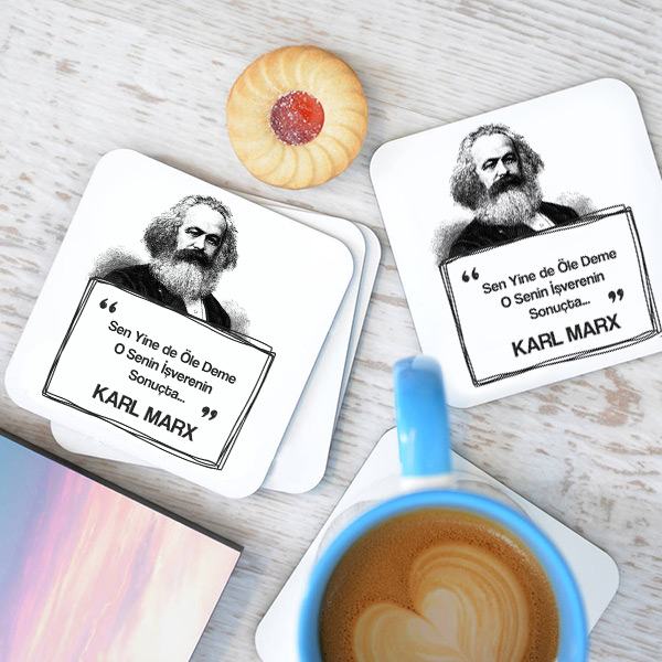 Karl Marx Esprili Bardak Altlığı Seti