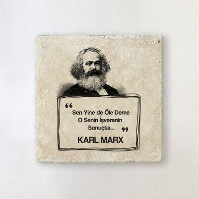 - Karl Marx Esprili Taş Bardak Altlığı