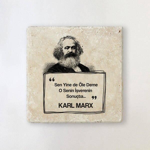 Karl Marx Esprili Taş Bardak Altlığı