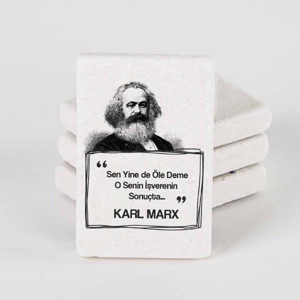 Karl Marx Esprili Taş Buzdolabı Magneti