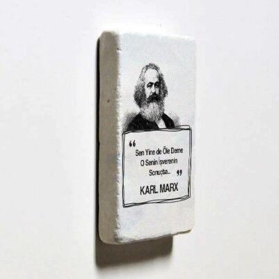 Karl Marx Esprili Taş Buzdolabı Magneti - Thumbnail