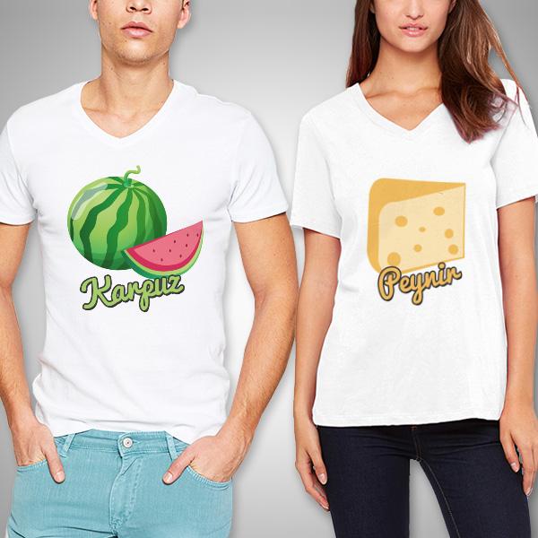 Karpuz ve Peynir İkilisi Sevgili Tişörtleri